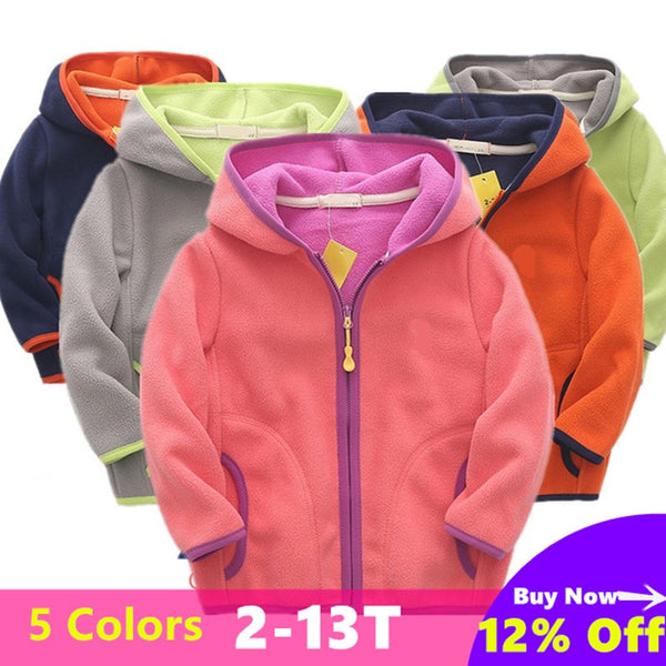 Colorful Fleece Zip-up Hooded Jacket