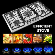 "Load image into Gallery viewer, Food Equipment 36"" 5 Burner Built-In Stove Top Gas Counter top Kitchen Easy to Clean Gas Cooking"