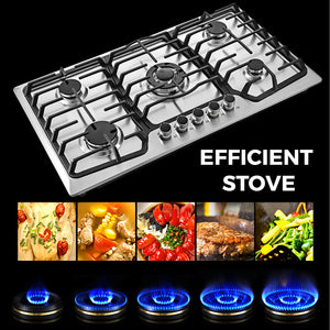"Food Equipment 36"" 5 Burner Built-In Stove Top Gas Counter top Kitchen Easy to Clean Gas Cooking"