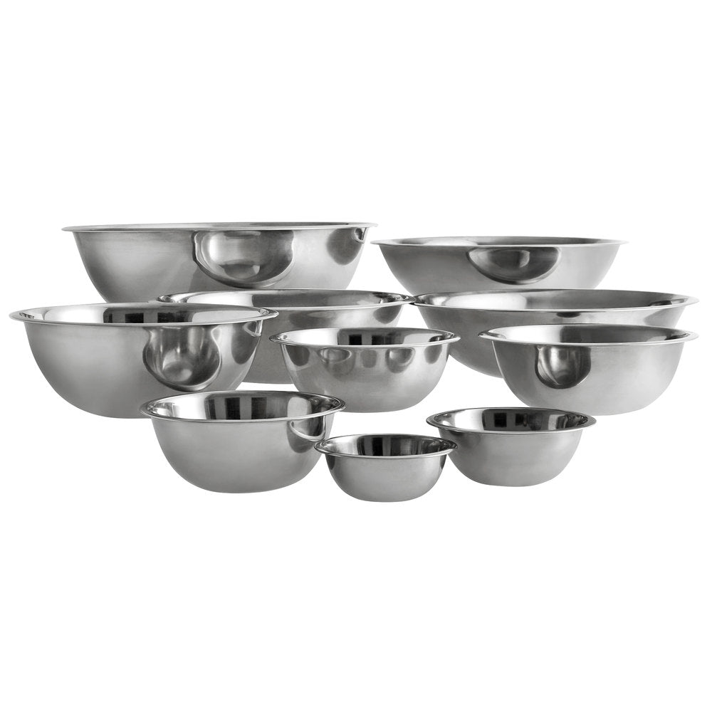 Food Equipment Standard Weight Stainless Steel Mixing Bowls - 10/Set