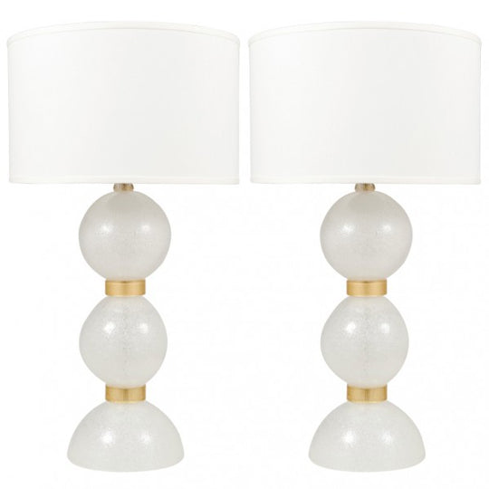 Pair of Murano Pulegoso Glass Lamps by Toso