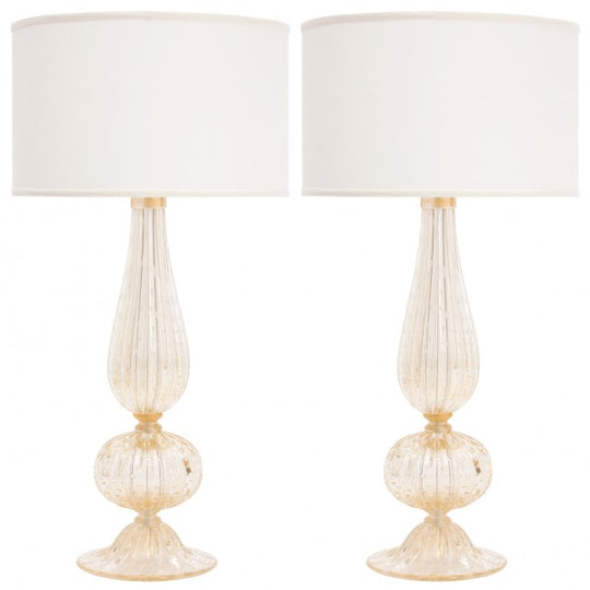 Pair of Murano Pulegoso Glass Lamps
