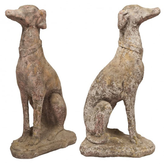 Pair of Vintage Stone Greyhounds