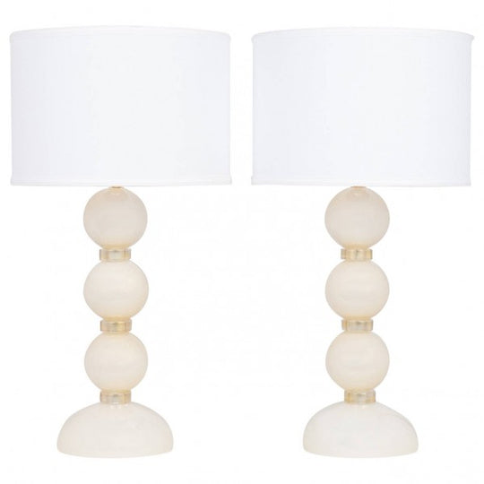 Murano Ivory and Gold Glass Lamps