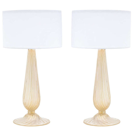 Pair of Murano Avventurina Glass Lamps