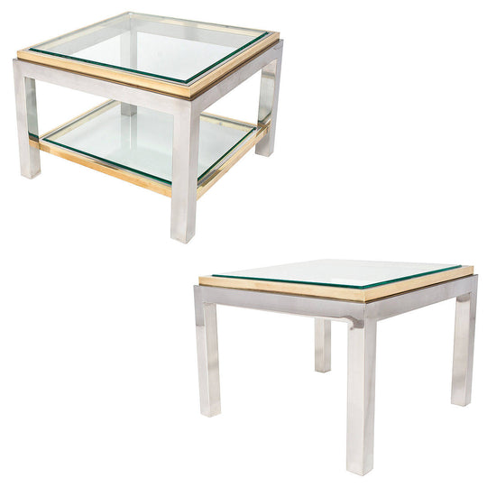 French Set of Chrome and Brass Side Tables