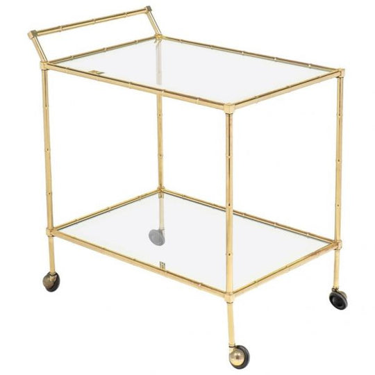 Maison Bagues Faux Bamboo Brass Bar Cart or Trolley