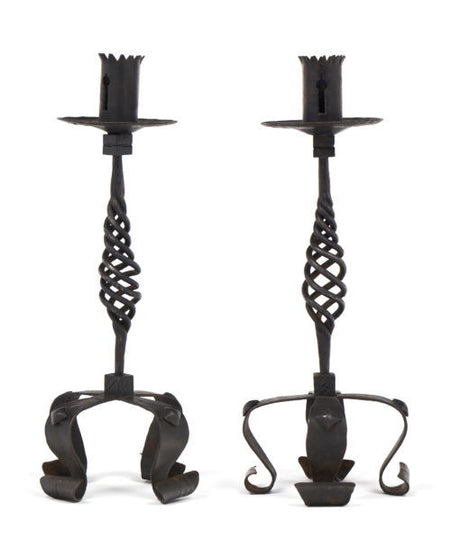 Vintage Forged Iron Candlesticks