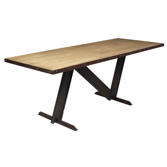 Industrial Dining Table with Cerused Wood Top
