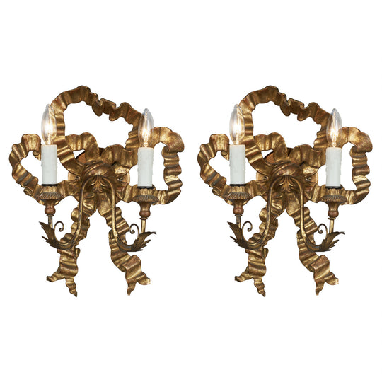 Antique Louis XVI Style Gold Bow Sconces