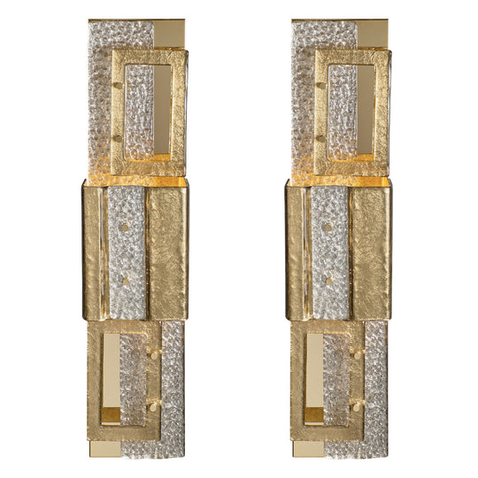 Geometric Murano Glass Gold Sconces