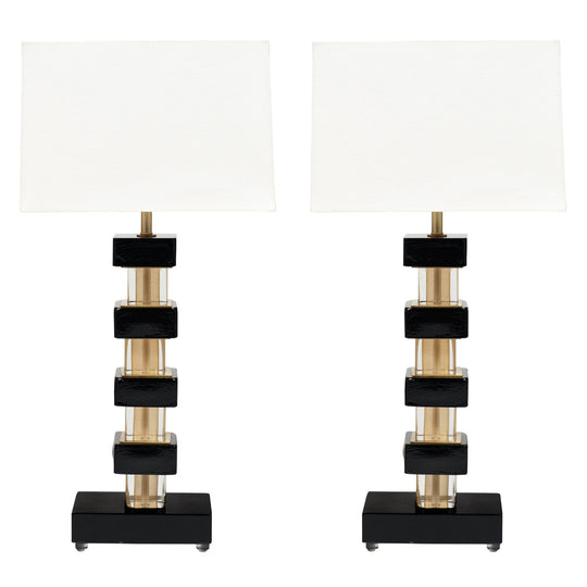 Pair of Black and Gold Murano Glass Lamps