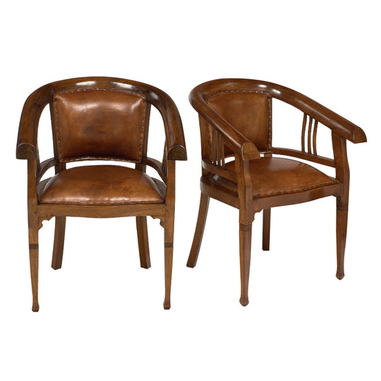 Austrian Art Deco Period Leather Armchairs
