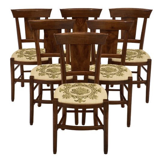 Six Directoire Period Walnut Dining Chairs
