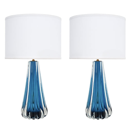 Murano Glass Mirrored Aqua Lamps