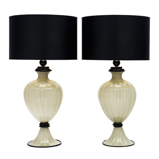 Gray and Black Murano Glass Lamps