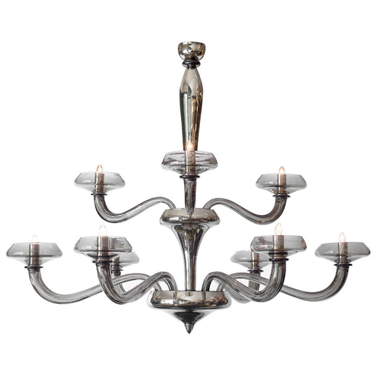 Modernist Murano Glass Pewter Chandelier