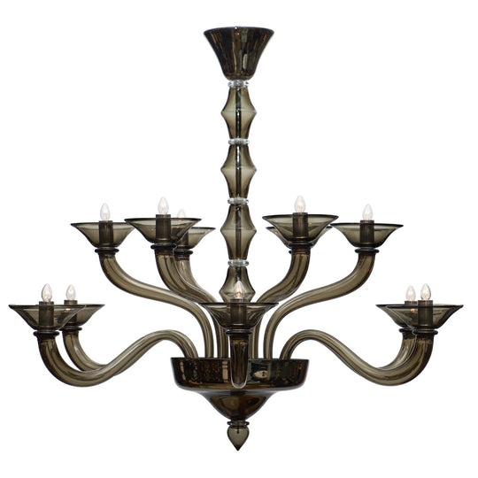 Murano Gray Mercury Glass Chandelier