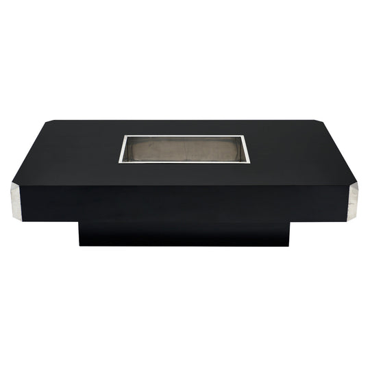 Italian Vintage Ebonized Coffee Table with Chrome by Willy Rizzo