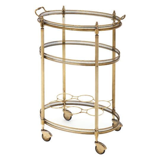 Art Deco Period Brass Oval Bar Cart