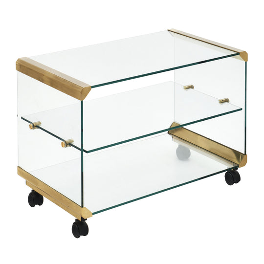 Modernist Glass and Brass Side Table