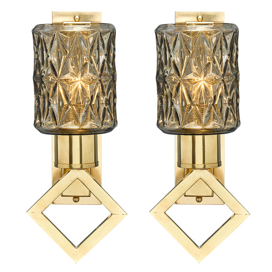 Modernist Diamond Murano Glass Sconces