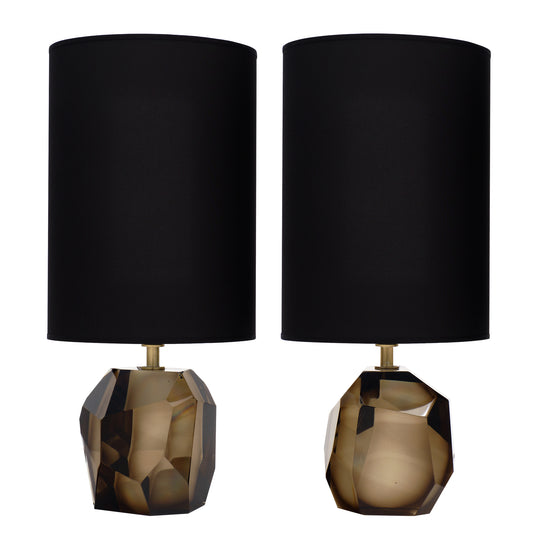 Murano Glass Smoked Amber Rock Lamps