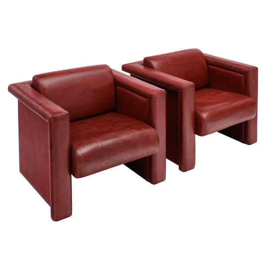 Pair of Red Leather Knoll Armchairs