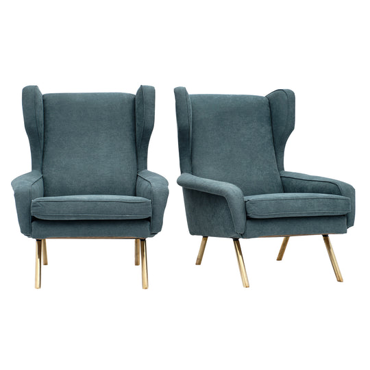 Teal Mid-Century Armchairs in the Style of Zanuso