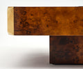 "Willy Rizzo ""Alveo"" Burled Coffee Table"