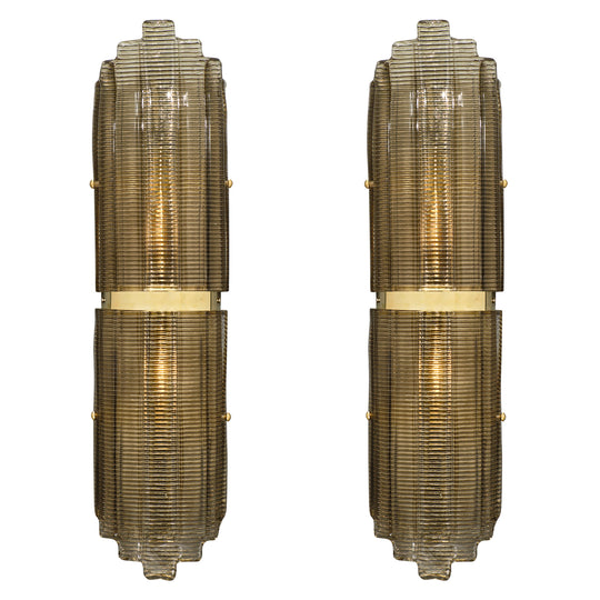 Smoked Murano Glass Ridged Sconces