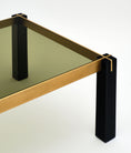 French Modernist Brass and Black Side Tables