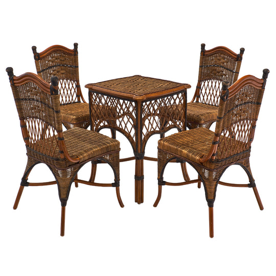 English Wicker Set of Chairs and Table