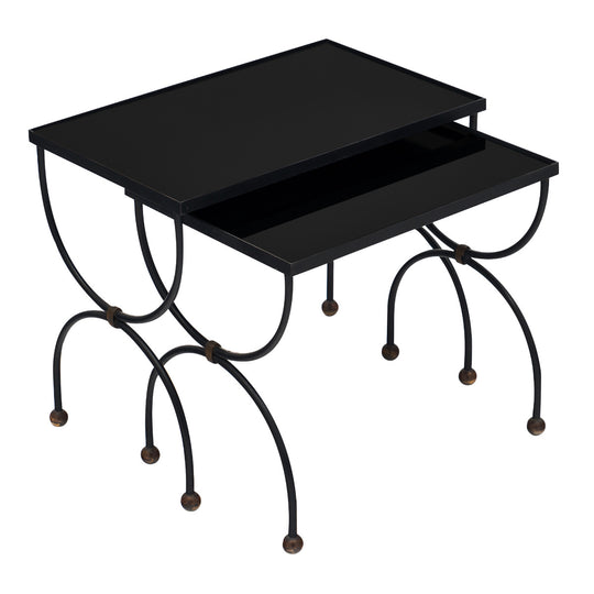 Art Deco Period Black Glass Nesting Tables