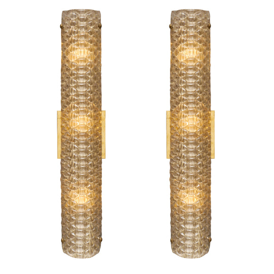 Murano Glass Modernist Textured Sconces