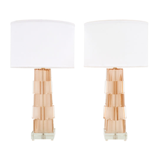 Pink Geometric Murano Glass Lamps