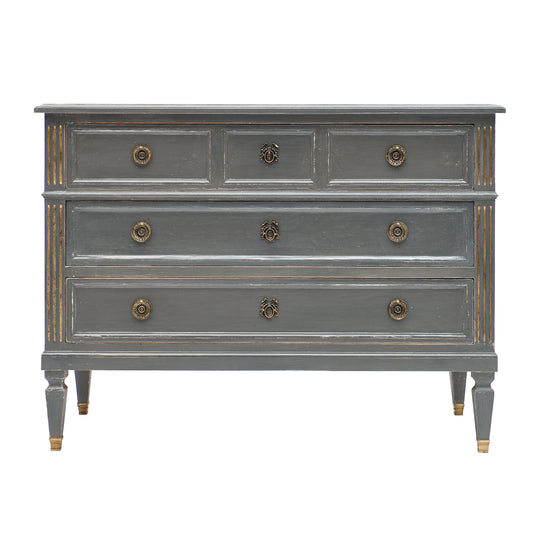 Antique Louis XVI Style Gray Painted Chest