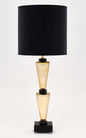 "Murano Glass Gold and Black ""Specchiato"" Lamps"