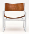 Italian Chrome and Leather Modern Armchairs