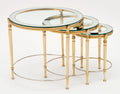 Glass and Brass Antique Nesting Tables