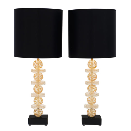 Murano Glass Gold and Black Lamps
