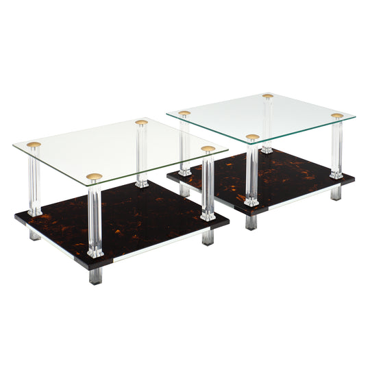 French Modernist Altuglass and Lucite Side Tables