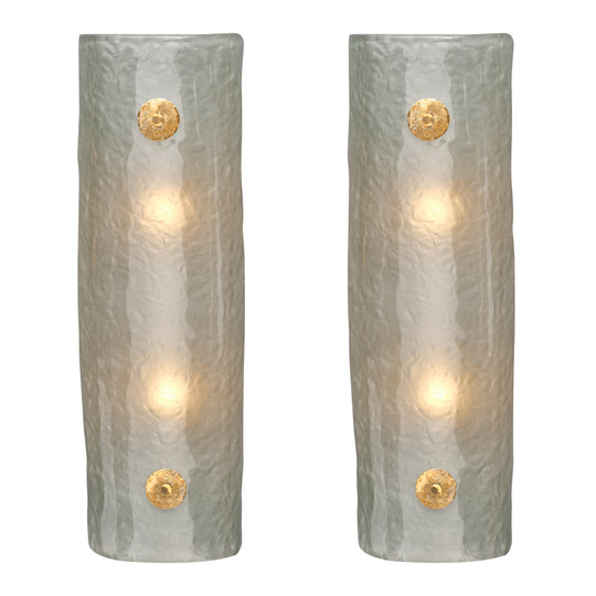 Frosted Light Blue Murano Glass Sconces
