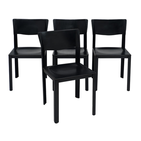 Vintage Black Leather Saporiti Chairs
