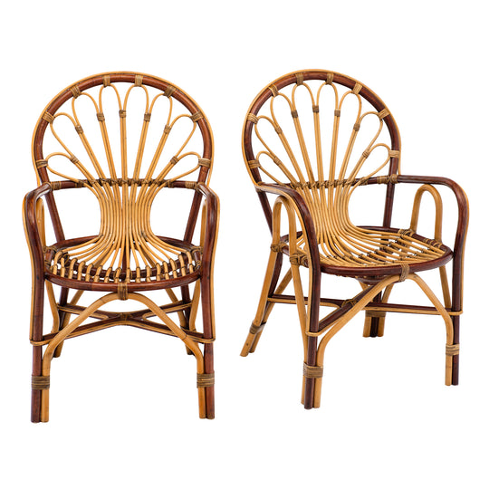 French Rattan Mid-Century Armchairs