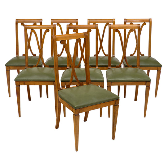 Set of Eight Directoire Style French Dining Chairs