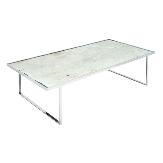 French Vintage Chrome and Glass Coffee Table