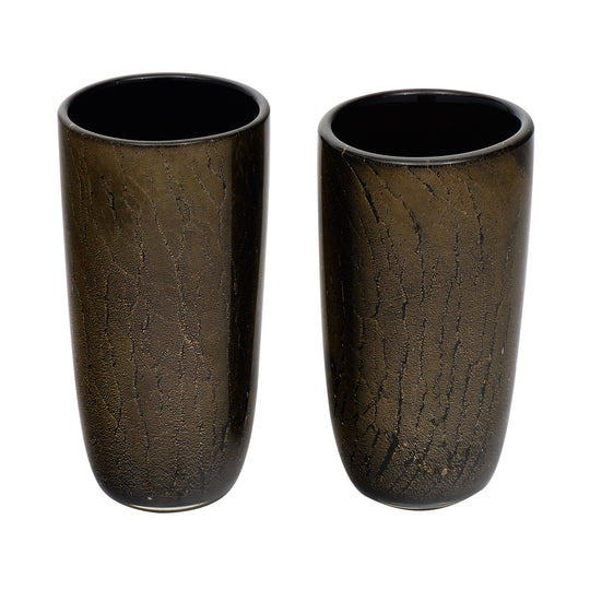 Black and Avventurina Murano Glass Vases
