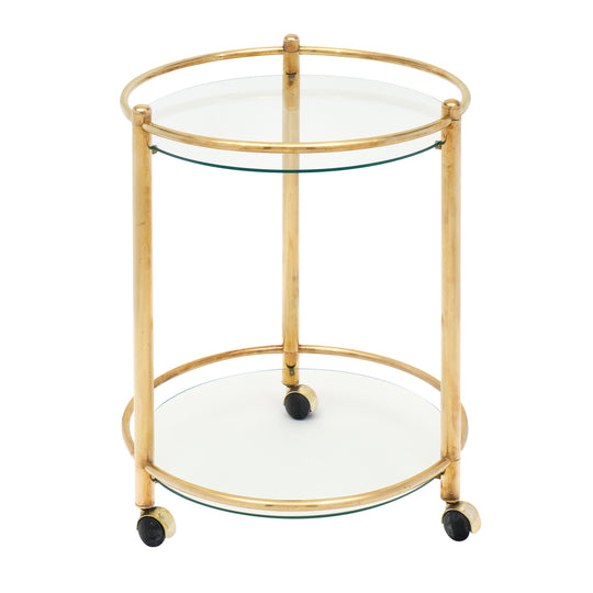 French Brass and Glass Side Table on Casters