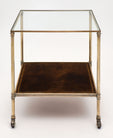 French Vintage Side Table with Leather Shelf